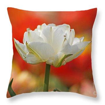 White Tulip Weisse Gefuellte Tulpe Throw Pillow