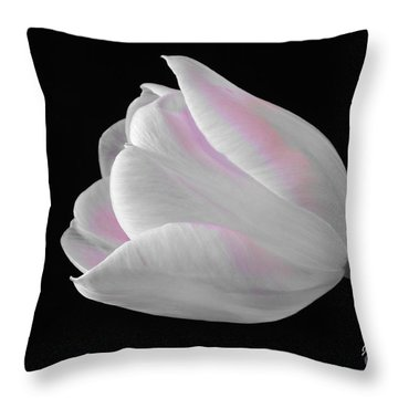 Throw Pillow featuring the digital art White Tulip With Pink by Jeannie Rhode