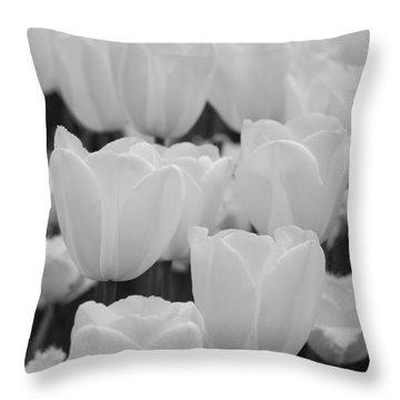 White Tulips B/w Throw Pillow by Jennifer Ancker
