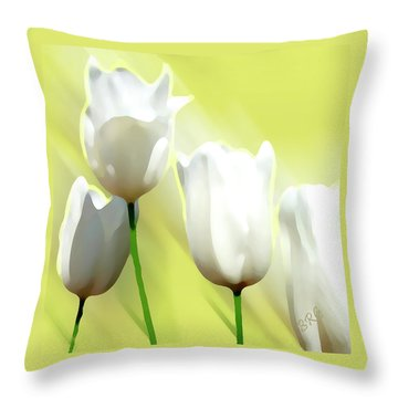 White Tulips Throw Pillow by Ben and Raisa Gertsberg