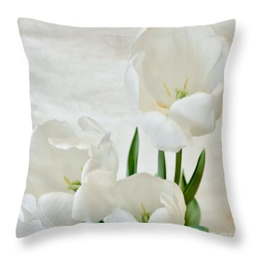 White Tulips Inside Throw Pillow