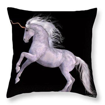 White Unicorn Black Background Half Rear Throw Pillow