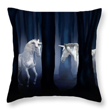 White Unicorns Throw Pillow by Virginia Palomeque