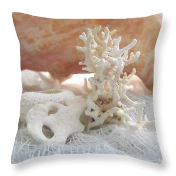 White Urchin Light Pink Corals And Conch Seashell Throw Pillow by Danielle  Parent