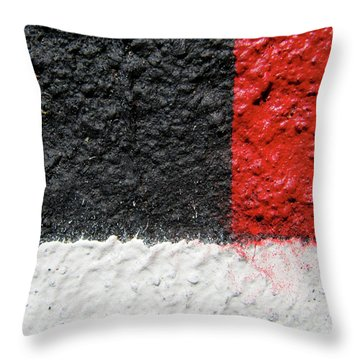 White Versus Black Over Red Throw Pillow