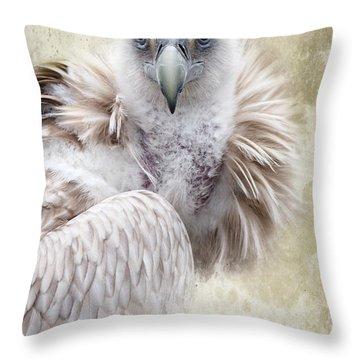 White Vulture  Throw Pillow by Barbara Orenya