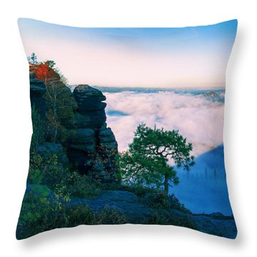 White Wafts Of Mist Around The Lilienstein Throw Pillow