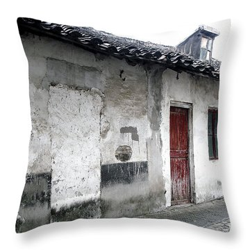 White Walls Red Doors Throw Pillow by Ivy Ho