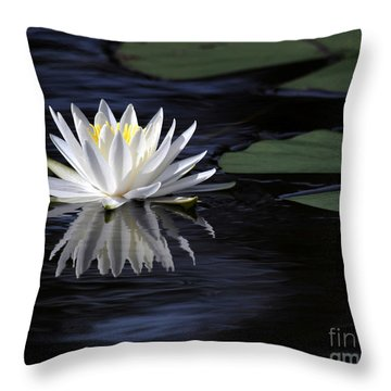 White Water Lily Left Throw Pillow
