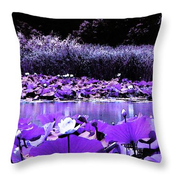 Throw Pillow featuring the photograph White Water Lotus In Violet by Shawna Rowe