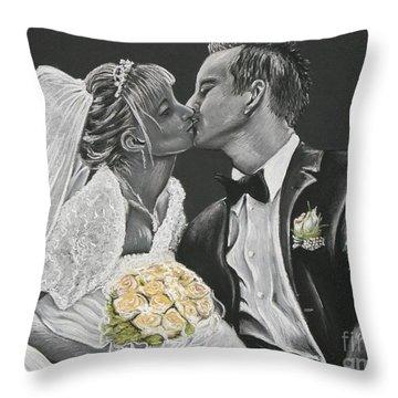 White Wedding Throw Pillow