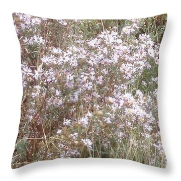 Throw Pillow featuring the photograph White Wild Flowers by Fortunate Findings Shirley Dickerson