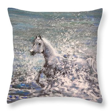 White Wild Horse Throw Pillow by Miki De Goodaboom