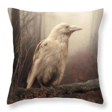 White Wild Raven Throw Pillow by Cindy Grundsten
