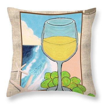 White Wine Beachside Throw Pillow by William Depaula