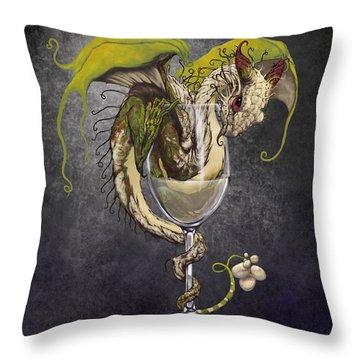 White Wine Dragon Throw Pillow