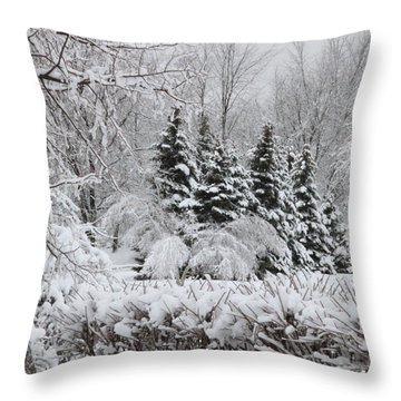 White Winter Day Throw Pillow