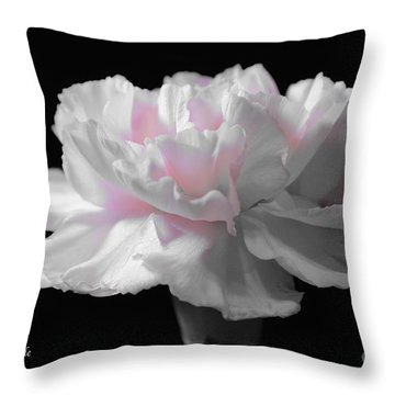Throw Pillow featuring the digital art White With Pink Carnation by Jeannie Rhode