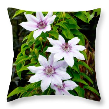 White With Purple Flowers 2 Throw Pillow