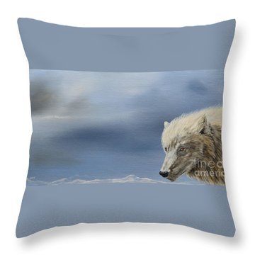 White Wolf2 Throw Pillow by Laurianna Taylor