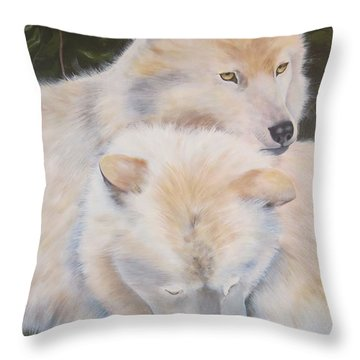 White Wolves - Loup Blanc - Parc Omega Throw Pillow