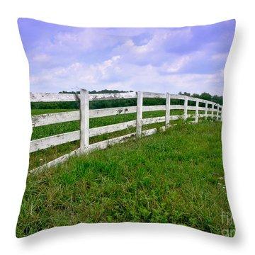 White Wood Fence Throw Pillow