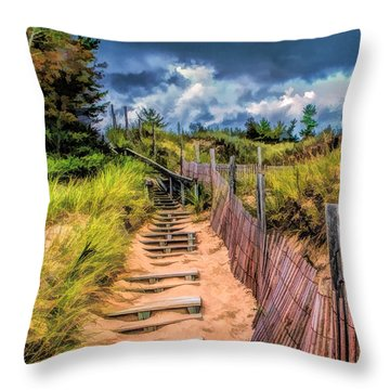 Whitefish Dunes State Park Stairs Throw Pillow