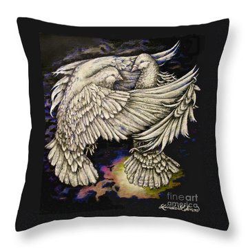 Whites Throw Pillow by Linda Simon
