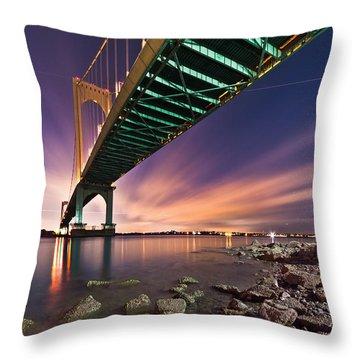 Whitestone Bridge Throw Pillow by Mihai Andritoiu