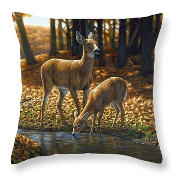 Whitetail Deer - Autumn Innocence 1 Throw Pillow by Crista Forest