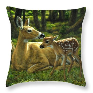 Whitetail Deer - First Spring Throw Pillow by Crista Forest