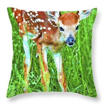 Whitetailed Deer Fawn Digital Image Throw Pillow