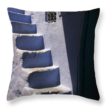 Whitewashed Steps In The Medina Of Asilah On Northwest Tip Of Atlantic Coast Of Morocco Throw Pillow