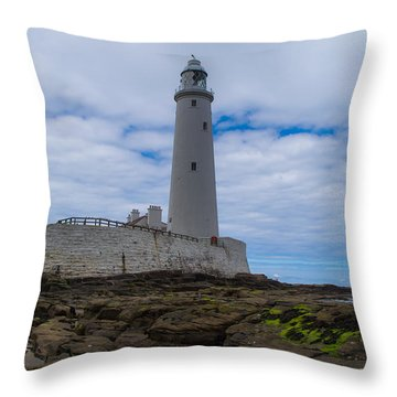 Whitley Bay St Mary's Lighthouse Throw Pillow