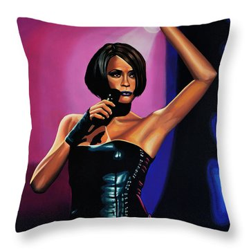 Whitney Houston On Stage Throw Pillow by Paul Meijering