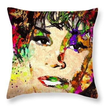 Whitney Houston Throw Pillow by Daniel Janda
