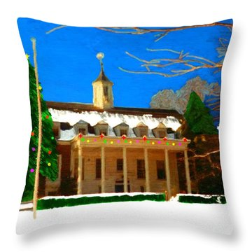 Whittle Hall At Christmas Throw Pillow by Bruce Nutting