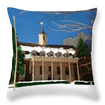 Whittle Hall In The Winter Throw Pillow by Bruce Nutting