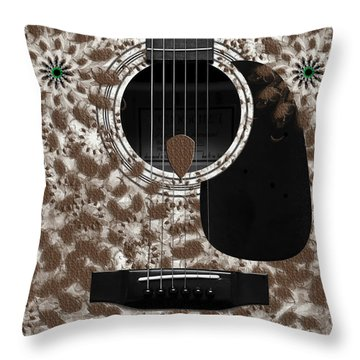 Who Are You - Owl Abstract Guitar Throw Pillow by Andee Design