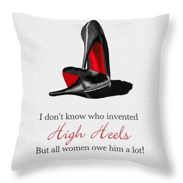 Who Invented High Heels? Throw Pillow by Rebecca Jenkins