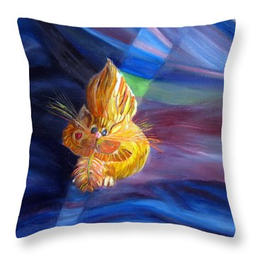 Throw Pillow featuring the painting Who Me? What Birdie? by LaVonne Hand