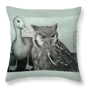Throw Pillow featuring the drawing Who Quack by Richie Montgomery