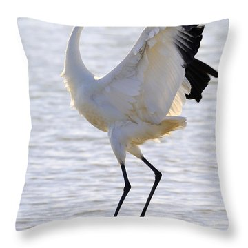Whooping Crane - Whooping It Up Throw Pillow