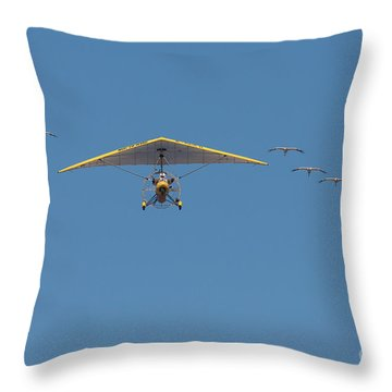Throw Pillow featuring the photograph Whooping Cranes And Operation Migration Ultralight by Paul Rebmann