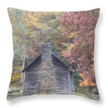 Throw Pillow featuring the photograph Whorley Homeplace At Rocky Knob Cabins Blue Ridge Parkway by Diannah Lynch
