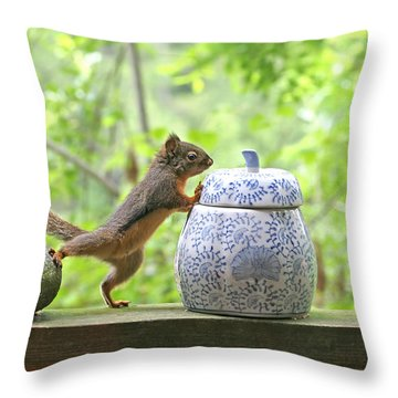 Who's Been In The Cookie Jar? Throw Pillow by Peggy Collins