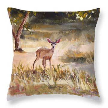 Who's There Throw Pillow by Jennifer Beaudet