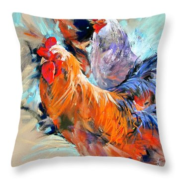 Throw Pillow featuring the painting Who's  The Boss by Rae Andrews