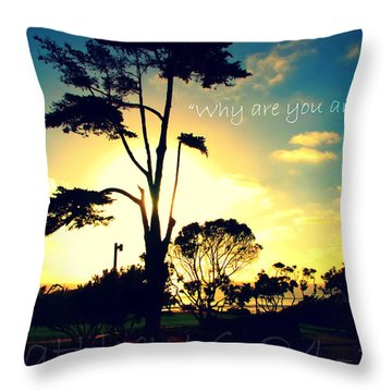 Why R U Anxious Throw Pillow by Sharon Soberon