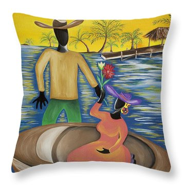 Why The Moon Smiles Throw Pillow by Patricia Sabree